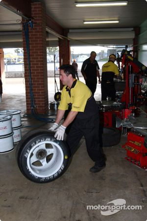 Dunlop technicians prepare the control tyres for the series