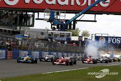 Largada: Jarno Trulli e Rubens Barrichello lideram