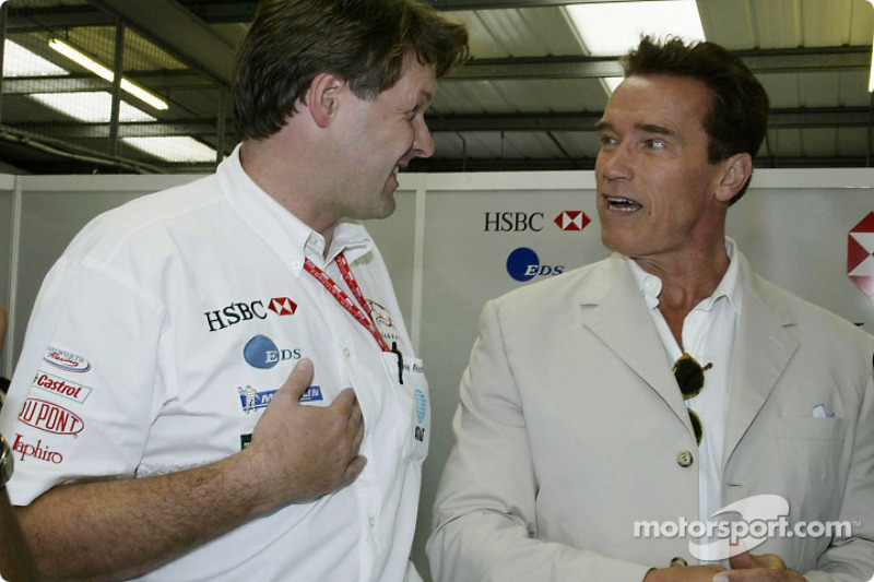 Jaguar's David Pitchford with Arnold Schwarzenegger