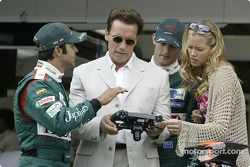 Antonio Pizzonia and Mark Webber with Terminator 3 co-stars Kristanna Loken and Arnold Schwarzenegge