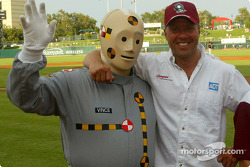 J.J. Lehto meets a Crash Test Dummy as he assists California Highway Patrol officers with a highway safety demonstration in Sacramento