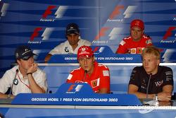 Thursday FIA basın toplantısı: Ralf Schumacher, Michael Schumacher, Kimi Raikkonen, Juan Pablo Monto