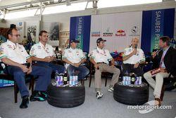 Sauber 10 years in Formula 1 exhibition at Hockenheim: Nick Heidfeld and Heinz-Harald Frentzen