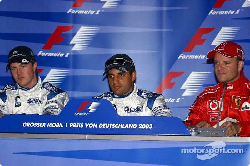 basın toplantısı: Juan Pablo Montoya, Ralf Schumacher ve Rubens Barrichello