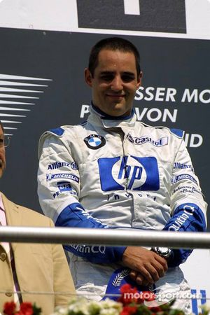 The podium: race winner Juan Pablo Montoya