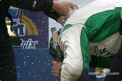 The podium: champagne shower for Tomy Drissi