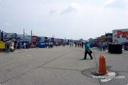 Empty garage area before the race