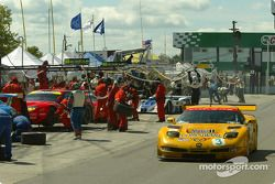 #3 Corvette Racing Chevrolet Corvette C5-R: Ron Fellows, Johnny O'Connell dans les stands