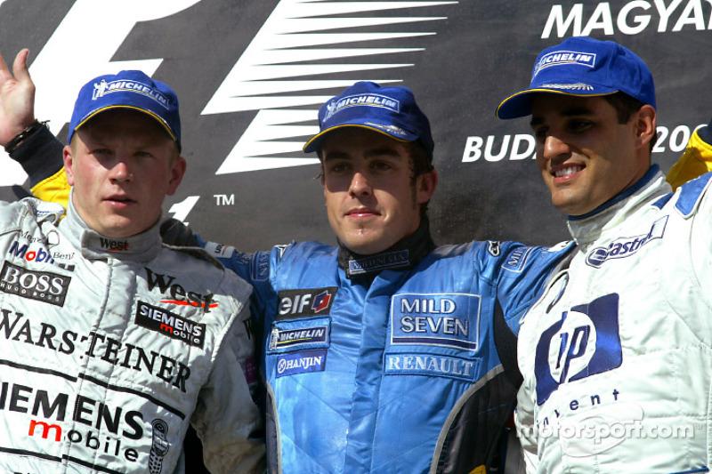 5 Hungría 2003: Fernando Alonso, Kimi Raikkonen, Juan Pablo Montoya