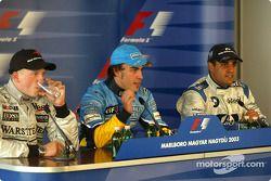 basın toplantısı: Yarış galibi Fernando Alonso ve Kimi Raikkonen ve Juan Pablo Montoya
