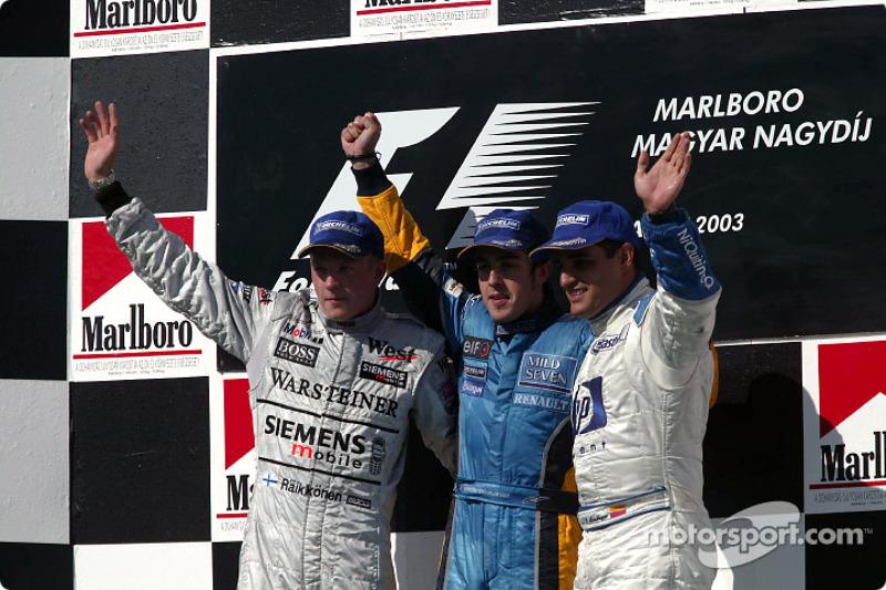 2003: 1. Фернандо Алонсо, 2. Кими Райкконен, 3. Хуан-Пабло Монтойя