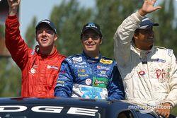Parade des pilotes : le top 3 du Barber Dodge Pro, à savoir Colin Fleming, Memo Rojas et Leonardo Maia