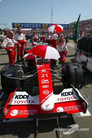 Toyota team members on starting grid