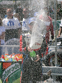 Kasey Kahne with the champagne