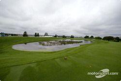 Un Inundado Indianapolis Motor Speedway después de las lluvias récord el fin de semana del día del t