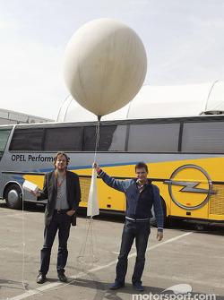 Meteorologist Jorg Kachelmann analyzes weather with a weather balloon