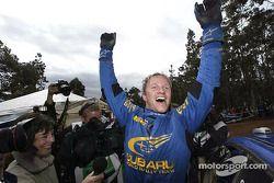 Petter Solberg celebrates win