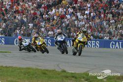 First lap action - Muggeridge from Van der Goerburg , Veumulen and Charpentier