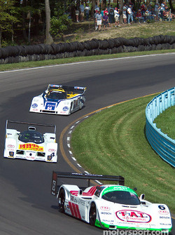 #6 1988 Porsche 962C, owned by Aaron Hsu leads #4 1992 Lola T92/10, owned by Stan Wattles and #64 1990 Chevrolet Intrepid, owned by Brian DeVries
