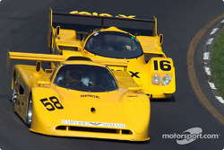 #58 1991 Spice Cosworth, owned by Jim Loftis leads #16 1991 Porsche 962C, owned by Juan Gonzalez