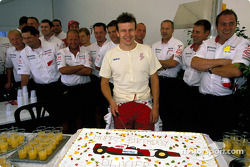 Olivier Panis celebrate birthday with Toyota team members