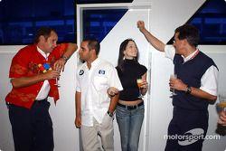 BMW Motorsport Direktör Gerhard Berger retirement party: Gerhard Berger, Juan Pablo Montoya, Connie