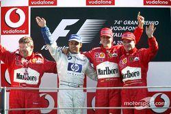 Podium: Sieger Michael Schumacher; 2. Juan Pablo Montoya; 3. Rubens Barrichello; Ross Brawn