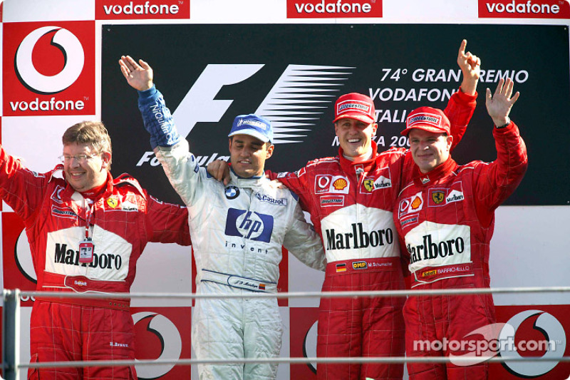 2003: 1. Michael Schumacher, 2. Juan Pablo Montoya, 3. Rubens Barrichello