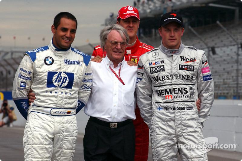 Берні Екклстоун і претенденти на титул Ф1 2003 року: Хуан-Пабло Монтойя, Міхаель Шумахер і Кімі Райкконен