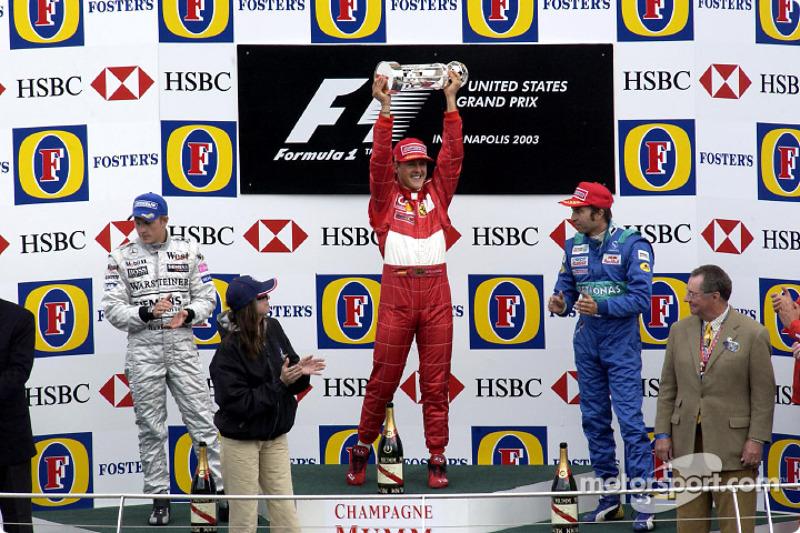 Em 2003, ano do hexa, Schumacher alcançou a marca de 70 vitórias, com o triunfo no GP dos Estados Unidos