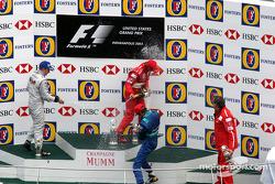 Podium: champagne for Michael Schumacher, Kimi Raikkonen and Heinz-Harald Frentzen