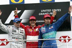 Podium: Sieger Michael Schumacher, 2. Kimi Räikkönen, 3. Heinz-Harald Frentzen