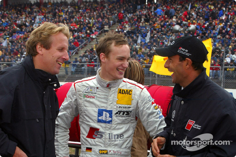 Frank Biela, Peter Terting and Emanuele Pirro on the starting grid