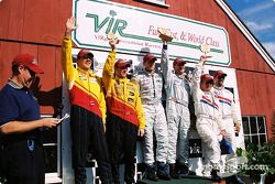 DP podium: race winners Terry Borcheller, Forest Barber, Andy Pilgrim, with Hurley Haywood, J.C. Fra