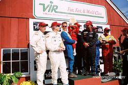 GTS podium: winners Paul Alderman, Steve Lisa and David Rosenblum, with Tommy Riggins, David Machavern, Simon Gregg and Kenny Wilden