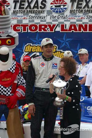 Victory lane: race winner Thiago Medeiros celebrates victory