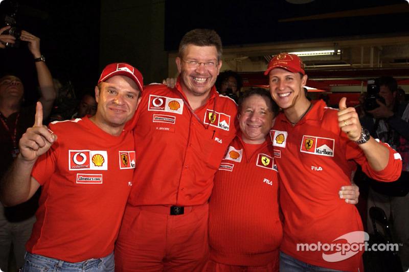 Michael Schumacher, Rubens Barrichello, Jean Todt and Ross Brawn