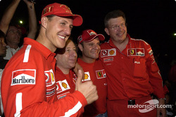 Michael Schumacher, Jean Todt, Rubens Barrichello y Ross Brawn