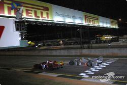 #64 Downing-Atlanta Welter Racing Mazda: Jim Downing, Howard Katz, Yojiro Terado, and #1 Infineon Team Joest Audi R8: Frank Biela, Marco Werner
