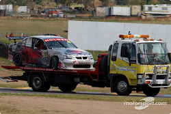 The Holden Young Lions car has run it's race after Tony Riccardello hit the wall