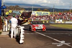Mark Skaife shown the black flag which cost him any chance of a podium finish