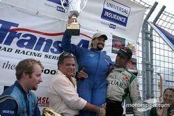 Podium: race winner Wally Castro with Bobby Sak and Tomy Drissi
