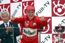 Podium: race winner Rubens Barrichello