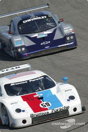 #59 Brumos Racing Porsche Fabcar: Hurley Haywood, J.C. France, and #54 Bell Motorsports Chevrolet Doran: Terry Borcheller, Forest Barber