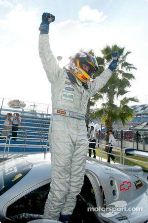 Race winner Terry Borcheller celebrates