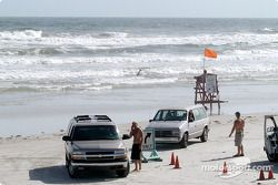 Beach with life guard stand