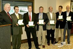 Grand-Am award ceremonies: Rolex Watch USA President Walter Fischer presenting the six driver champions with specially engraved Rolex Oyster Perpetual Daytona Cosmograph watches