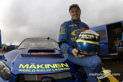 Tommi Makinen celebrates his last WRC event with Subaru