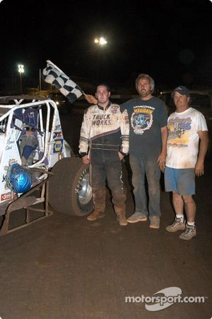 Ronnie Clark celebrates first USAC feature win with family and crew