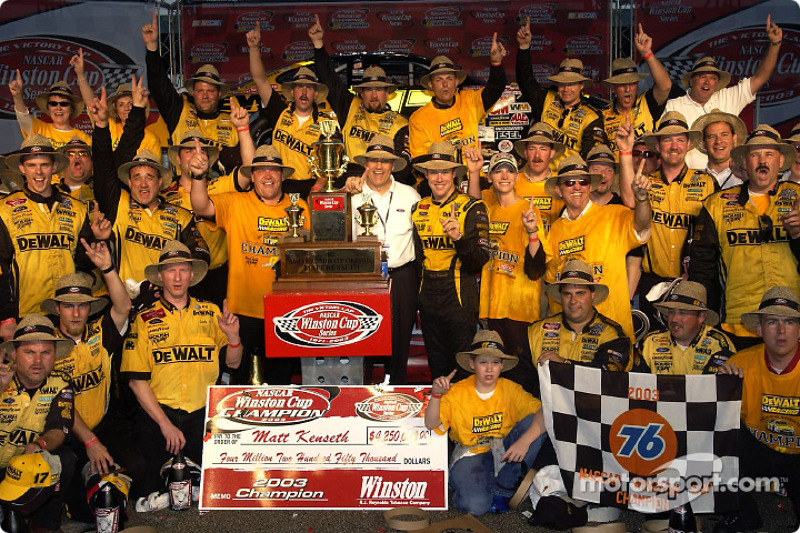 Matt Kenseth celebrates 2003 NASCAR Winston Cup championship with his team